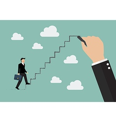 Businessman stepping up on drawing stair vector image