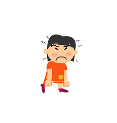 Cartoon character asian girl angry vector
