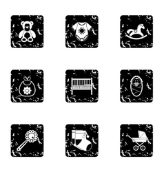 Child icons set grunge style vector image vector image