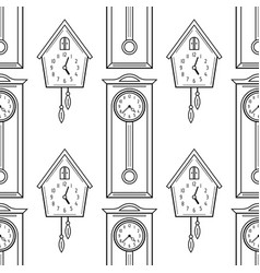 Cuckoo clock and grandfather clock flat linear vector