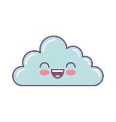 Cute cloud kawaii face vector