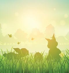 Easter bunny landscape vector image vector image