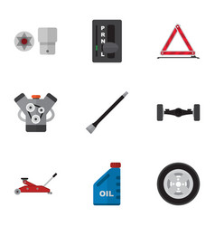 flat icon auto set of pipeline petrol suspension vector image