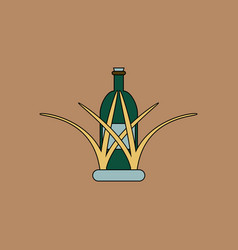 flat icon design collection bottle in grass vector image vector image