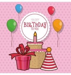 Gift balloons cake happy birthday design vector