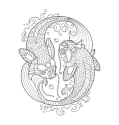 Koi carp coloring book for adults vector image