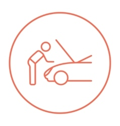 Man fixing car line icon vector image