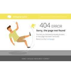 Man slipped on a banana page not found error 404 vector
