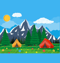 meadow with grass and camping vector image vector image