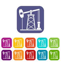 Oil derrick icons set flat vector