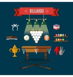 Play Billiards Flat Icon Set vector image