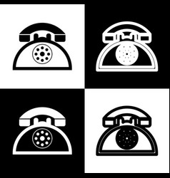 Retro telephone sign black and white vector