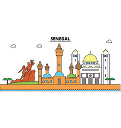 senegal outline city skyline linear vector image vector image