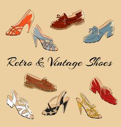 set of retro vintage female shoes sketch vector image vector image