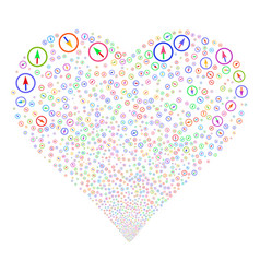Sharp rounded arrow fireworks heart vector