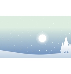 Silhouette of spruce at night christmas scenery vector