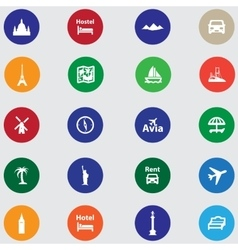 Tourist icons for your website Flat design vector image vector image