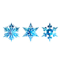 watercolor silhouettes of snowflakes vector image vector image