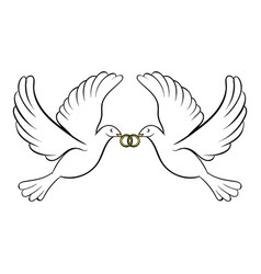 Wedding two doves icon cartoon vector