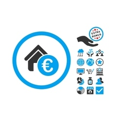 Euro home rent flat icon with bonus vector