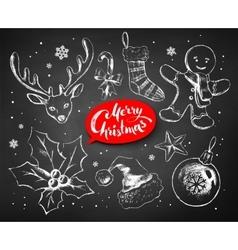 Christmas chalked set vector