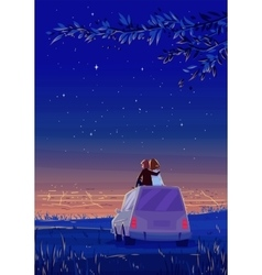 Boy and girl look over the city romantic night vector