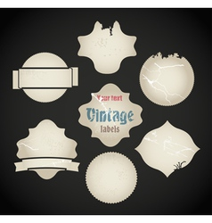 Scratched vintage labels set vector