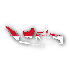 Map and flag of indonesia vector