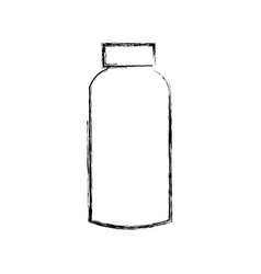 Plastic blank bottle with cap packaging vector