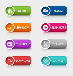 Colored set rectangular web buttons vector image