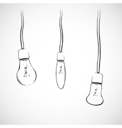 Light bulbs on wires vector