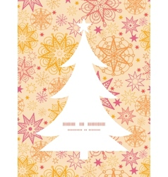 Warm stars christmas tree silhouette pattern frame vector