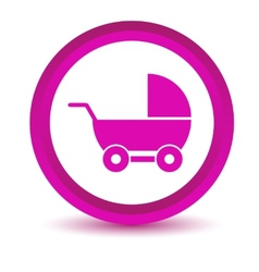 Purple baby carriage icon vector