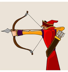 Cartoon man aiming from a bow vector