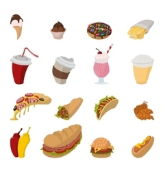 Fast food cartoon icons vector