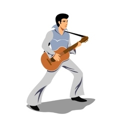 Musician artist like elvis presley with a guitar vector