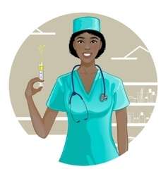 African american nurse with syringe eps10 vector