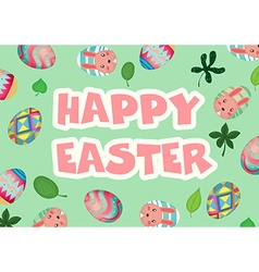 Happy Easter with decorated eggs background vector image
