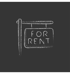 For rent placard drawn in chalk icon vector