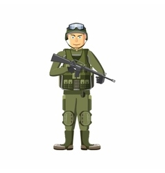 Soldier with weapons icon cartoon style vector