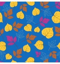 Autumn leaves on blue-01 vector image vector image