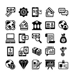 banking and finance line icons 4 vector image