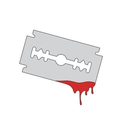 blade razor with flowing blood vector image vector image