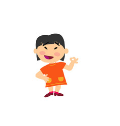 Cartoon character asian girl in approval attitude vector