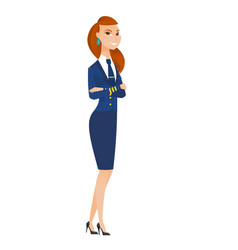 Caucasian stewardess standing with folded arms vector