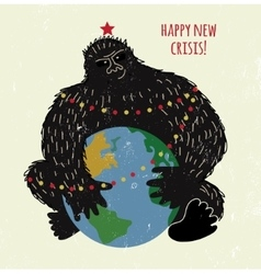 Crisis monkey and world card or placard vector