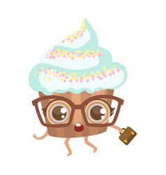cupcake in glasses with suitcase cute anime vector image