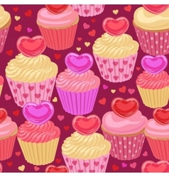 Cupcakes with hearts seamless pattern vector image vector image