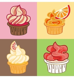 Delicious Cupcake set vector image