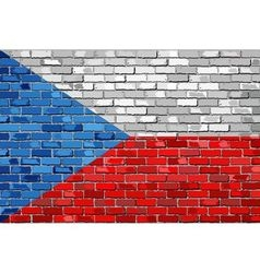 Flag of Czech Republic on a brick wall vector image